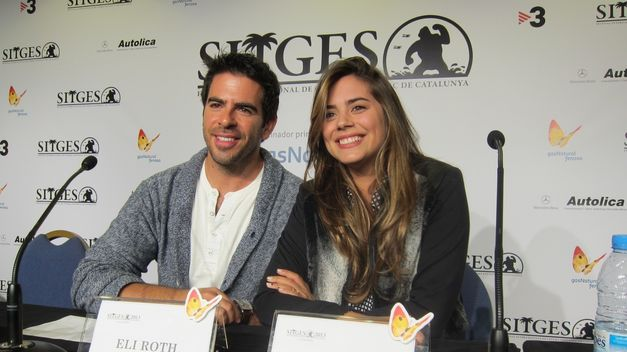 The Green Inferno - Eli Roth and Lorenza Izzo at the press conference in Sitges
